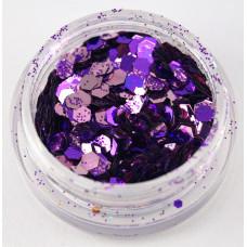 Фиолетовые блестки с шестигранниками для декора ногтей в баночке