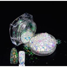 Голографические блестки (песок) с частичками слюды 01 для декора ногтей в баночке