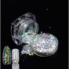 Голографические блестки (песок) с частичками слюды 03 для декора ногтей в баночке