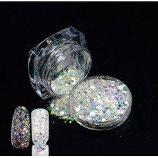 Голографические блестки (песок) с частичками слюды 02 для декора ногтей в баночке