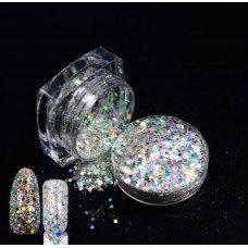 Голографические блестки (песок) с частичками слюды 04 для декора ногтей в баночке