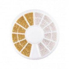 Бульонки для ногтей в карусельке золото и серебро