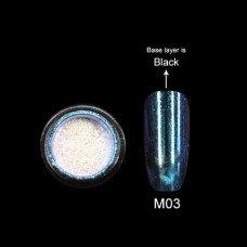 Зеркальная втирка Canni Metallic Powder аквамарин M03 2г