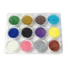 Набор блесток 12 оттенков для декора ногтей в баночках