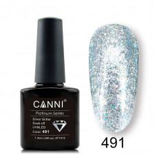 Гель-лак Canni Platinum 491 Блестящий серебряный с эффектом жидкой фольги