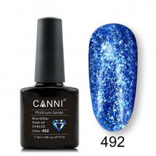 Гель-лак Canni Platinum 492 Блестящий синий с эффектом жидкой фольги