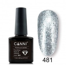 Гель-лак Canni Platinum 481 Серебряный с эффектом жидкой фольги