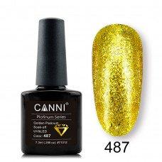 Гель-лак Canni Platinum 487 Золотой с эффектом жидкой фольги