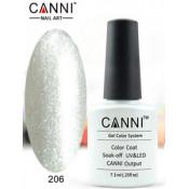 Гель-лак Canni 206 Белый сверкающий 7,3 мл