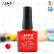 Гель-лак Canni 210 Кроваво-красный с блеском 7,3 мл