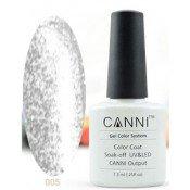 Гель-лак Canni 005 Прозрачный с серебряными блестками 7,3 мл