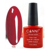 Гель-лак Canni 105 Ярко-красный 7,3 мл