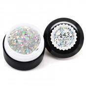 Гель-краска Canni-643 прозрачная с голограммными блёстками серебро/золото 5 мл