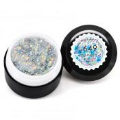 Гель-краска Canni-649 прозрачная с золотистыми и серебристыми голограммными блёстками 5 мл