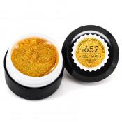 Гель-краска Canni-652 полупрозрачная жёлтая с мелкими золотистыми блёстками 5 мл