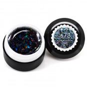 Гель-краска Canni-673 полупрозрачная чёрная с чёрными голограммными блёстками 5 мл
