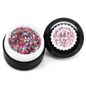 Гель-краска Canni-667 прозрачная с розовыми и серебристыми голограммными блёстками 5 мл