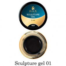 Гель-пластилин для лепки на ногтях объёмного дизайна F.O.X 001 чёрный 5 мл