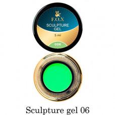 Гель-пластилин для лепки на ногтях объёмного дизайна F.O.X 006 зеленый 5 мл