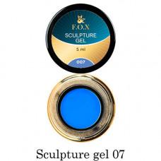 Гель-пластилин для лепки на ногтях объёмного дизайна F.O.X 007 синий 5 мл