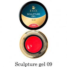 Гель-пластилин для лепки на ногтях объёмного дизайна F.O.X 009 красный 5 мл