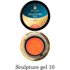 Гель-пластилин для лепки на ногтях объёмного дизайна F.O.X 010 оранжевый 5 мл