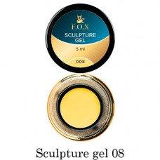 Гель-пластилин для лепки на ногтях объёмного дизайна F.O.X 008 жёлтый 5 мл