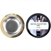 Гель-краска F.O.X Metal painting gel 01 серебристая, 5 мл