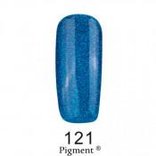 Гель-лак Фокс 121 синий с серебряным глиттером (F.O.X Pigment) 6 мл