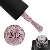 Гель-лак GO 243 5,8 мл розовое серебро, с красным и серебристым конфетти