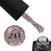 Гель-лак GO 244 5,8 мл розовое серебро, с синим и красным конфетти