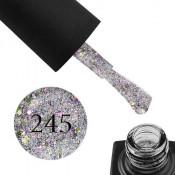 Гель-лак GO 245 5,8 мл серебро, с лаймовым и фиолетовым конфетти