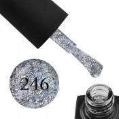 Гель-лак GO 246 5,8 мл серебро, с синим конфетти, переливающимися блестками и слюдой