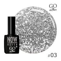 Гель-лак Go Active 003 Серебро с блестками и слюдой 10 мл