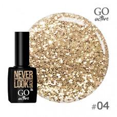 Гель-лак Go Active 004 Светло-золотые блестки 10 мл