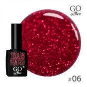 Гель-лак Go Active 006 Бордовый, с красными блестками 10 мл