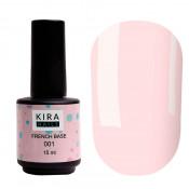 French rubber base Kira Nails 001 нежно-розовая 15 мл