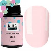 French rubber base Kira Nails 001 нежно-розовая 30 мл