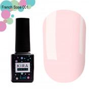 French rubber base Kira Nails 001 нежно-розовая 6 мл