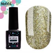 Гель-лак Kira Nails 24 Karat 004 золотистый с блестками 6 мл