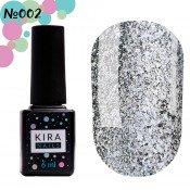 Гель-лак Kira Nails 24 Karat 002 серебристый с разноцветными блестками 6 мл