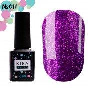 Гель-лак Kira Nails 24 Karat 011 фиолетовый с блёстками 6 мл