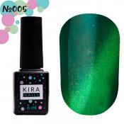Гель-лак Kira Nails Cat Eye 005 сине-зеленый 6 мл