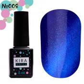 Гель-лак Kira Nails Cat Eye 008 насыщенный синий 6 мл