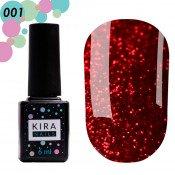 Гель-лак Red Hot Kira Peppers 001 рубиновый с ярко-красными блестками 6 мл