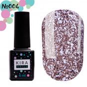 Гель-лак Kira Nails Shine Bright 004 темное серебро с мелкими красными блестками 6 мл