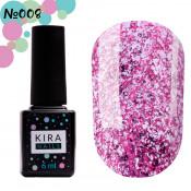 Гель-лак Kira Nails Shine Bright 008 розовый с блестками 6 мл