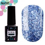Гель-лак Kira Nails Shine Bright 010 голубой с блестками 6 мл