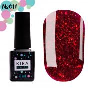Гель-лак Kira Nails Shine Bright 011 тёмно-красный с блёстками 6 мл