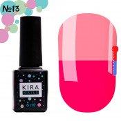 Гель-лак Kira Nails T13 насыщенный темно-розовый, при нагревании ярко-розовый 6 мл